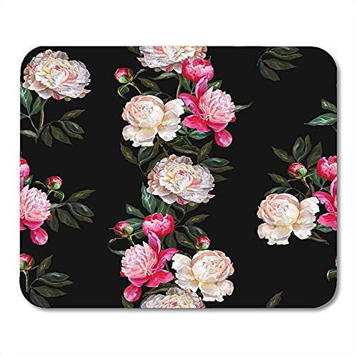 Mouse Pads Colorful Stripe Floral Pattern White and Pink Peonies on Band of Flowers Watercolor Painting Green Mouse Pad Mats 25 X 30 CM