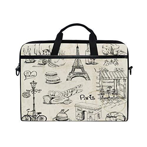 Laptop Case, Retro Paris Eiffel Tower Pattern Computer Sleeve Protective Bag 3 Layer with Durable Zipper for Lenovo Hp MacBook Pro Neoprene Notebook 14 15 15.4 inch