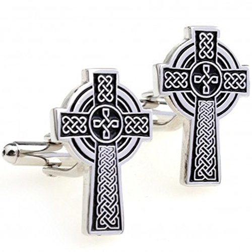 Covink Jesus Cross Men's Cufflinks Catholic Cross Celtic Cuff Links Silver and Black One Pair