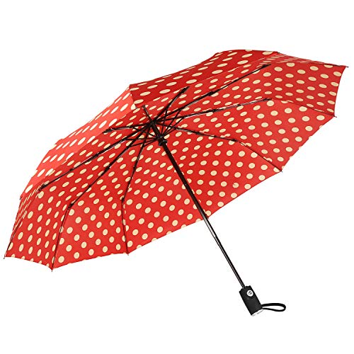"Agaric Cute Polka Dots Compact Travel Umbrella - 10 Ribs Windproof Umbrella, 46"" Auto Open/Close Portable Umbrella with Reinforced Canopy and Ergonomic Handle (Red)"