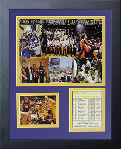 """2009 Los Angeles Lakers NBA Champions 11"""" x 14"""" Framed Photo Collage by Legends Never Die, Inc. image"""