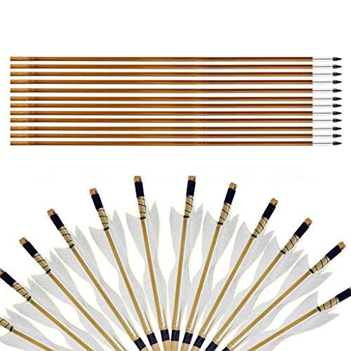 """Sports Funshop 12er 32"""" Pfeilschäfte aus Bambus Handmade Bogenpfeile mit 150 Bogenspitze mit Alu Gewindevorschneider für Broadheads(Weiß)"""