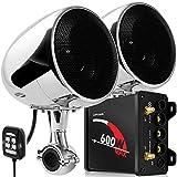 GoHawk TN4 2.1 Channel Amplifier 4' Full Range Waterproof Bluetooth Motorcycle Stereo Speakers Audio System AUX FM Radio for 1 to 1.25 in. Handlebar Harley Yamaha Can-Am ATV UTV RZR Polaris