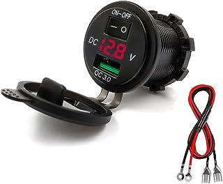 Thlevel USB-billaddare, vattentät QC3.0 USB-laddare uttag strömuttag adapter med strömbrytare LED-indikator för 12V/24V bi...