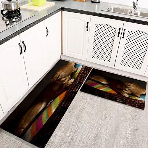 Alfombras Cocina Goma Alfombra de Baño Ducha 2PCS Chihuahua durmiendo en una Canasta de Mimbre, alfombras de Cocina Antideslizantes Lavables