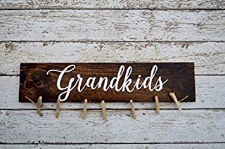 Grandkids Sign Picture Holder Grandkids Make Life Grand Rustic Picture Frame Home Decor Hand Painted Sign