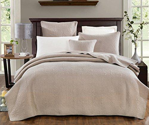 DaDa Bedding Elegant Matelasse Bedspread Set - 100% Cotton Fabric Floral Sand...