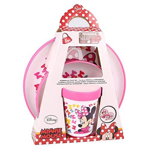 MINNIE MOUSE - DISNEY  Vajilla infantil bicolor- Set de 3 piezas: Plato, cuenco y vaso para niños - Vajilla Bebé Antideslizante con base de silicona - Libre de BPA