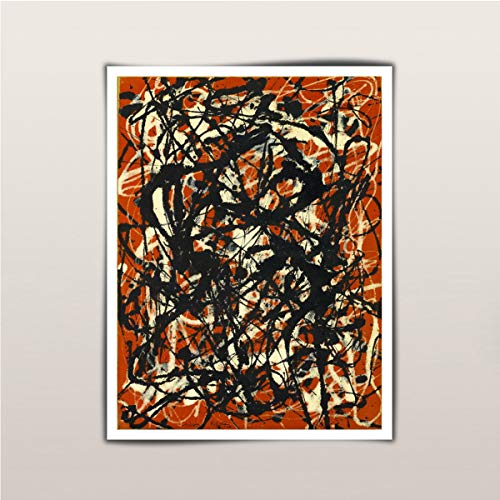 Artwu Jackson Pollock Free Form Wall Decorations for Bedroom Living Room Oil Paintings Canvas Prints-1790 (18x24inch,Framed)