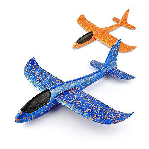 VCOSTORE 2pcs lanciando aliante aereo schiuma, EEP manuale inerzia aereo aereo durevole per bambini sport all'aperto giocattoli o regalo (blu e arancione)