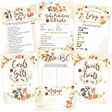 Baby Shower Games - Woodland Animals, Neutral for Boy or Girl (50 Each x 5 Activities) - 2 Signs, Baby Advice and Predictions, Emoji, Guess Who Games - Rustic Woodland Baby Shower Decorations