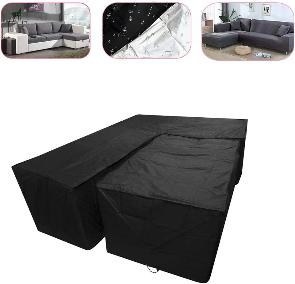 TRF Muebles de terraza Cubierta, seccional sofá al Aire Libre Cubierta con Mesa de café Covers - Impermeable de protección Solar, protección para Cualquier estación - para Terraza Jardín Couch