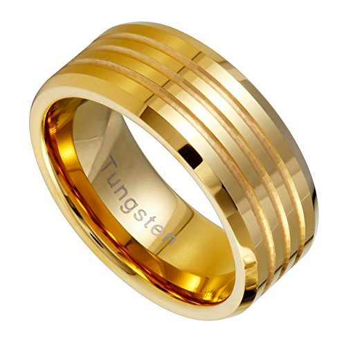 Urban Jewelry Striped Gold Color 9 mm Solid Tungsten Wedding Engagement Band Ring for Men (9)