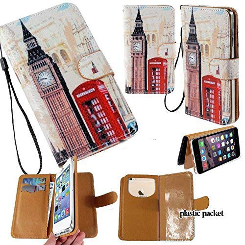 Universal PU Leather Strap Case/Purse/Clutch Fits Apple Samsung LG etc. Big Ben London Phone Booth -Medium. Magic Sticker Attaches Phone to Wallet. Strong Adhesive/Easy Remove. Fits Models Below: