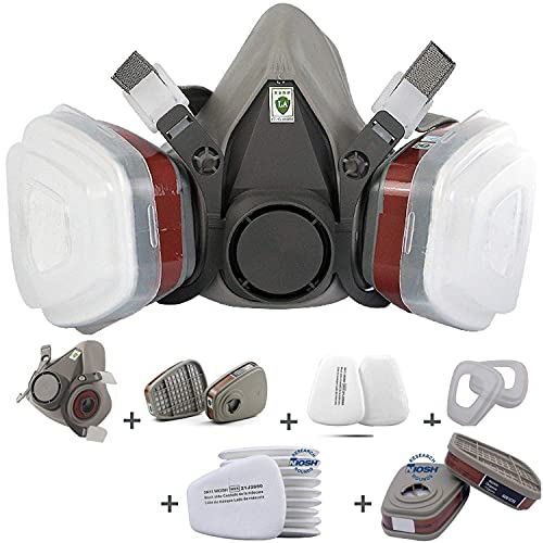 RANKSING :SFM-6200 Reusable Active Carbon Respirator, for paint, dust and formaldehyde, sanding, polishing, spraying and other work, With 12 Packs 5N11 Cotton Filters and 4 packs Filter Cartridges