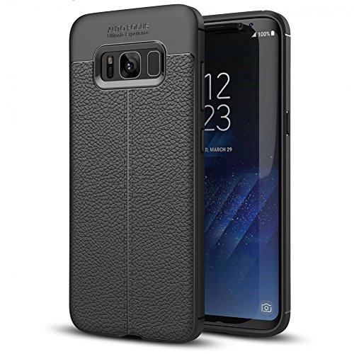 NALIA Leder-Erscheinungsbild Hülle kompatibel mit Samsung Galaxy S8 Plus, Ultra-Slim Silikon Hülle Cover, Dünne Phone Handyhülle Schutzhülle, Etui Handy-Tasche Backcover Bumper, TPU Gummihülle - Schwarz