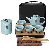 E&A Portable Chinese Kongfu Tea Set Travel Ceramic Porcelain Tea Ware Teapot Canister Teacups Tea Clip Towel Tray (B)