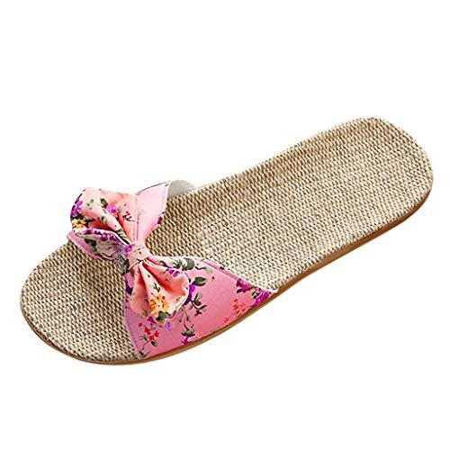 LANSKIRT Sandalias Planas Mujer Bohemia Bowknot Lino Chanclas Verano Zapatos Playa, Sandalias Zapatilla Verano