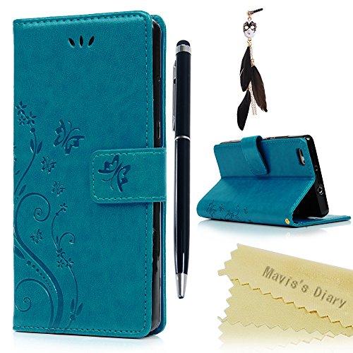 Funda Huawei P8 Lite (Versión 2015), Carcasa Libro PU Premium Leather Cuero impresión - Mavis's Diary Flip Case Cover Con TPU Goma Flexible,Cierre Magnético,Función de Soporte,Billetera con Tapa - Diseño de Mariposa y flor, Azul