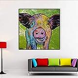Cartel e impresión de dibujos animados abstractos animales pintura al óleo sobre lienzo cerdo arte de la pared para sala de estar decoración del hogar 16x16 pulgadas
