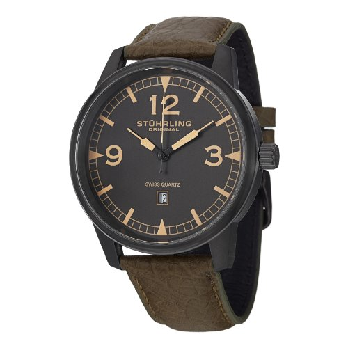 Stuhrling Original Aviator Tuskegee Condor Men's Quartz Watch with Grey Dial Analogue Display and Brown Leather Strap 1129Q. 03
