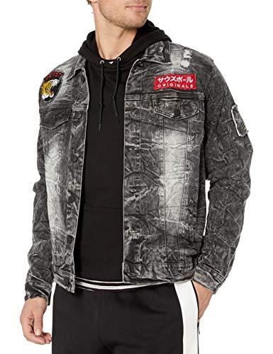 Southpole Men's Aian Utility Premium Fashion Denim Jacket, Blacksand King Tiger, Small