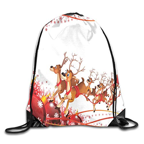 Drawstring Gym Bag Backpack,Abstract Frame With Xmas Balls And Snowflakes Flying Reindeer Carriage,Rucksack for School Sports Travel Women Children Birthday Present