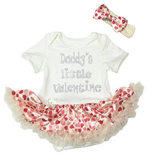 Petitebelle Papa's kleine Valentijnsjurk Beige Crème Bodysuit harten Tutu Romper Nb-18m