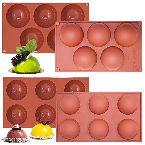 Stampo in silicone semisfera grande da 4 pezzi, stampo da forno a cupola a 6 cavità Sonku a 5 cavità per fare cioccolato, torte, gelatina, budino, mousse a cupola