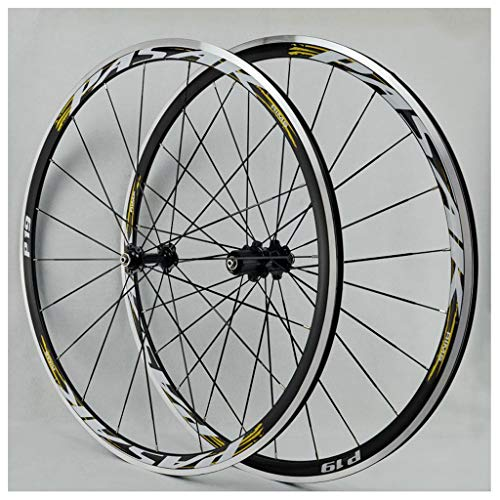 Road Bike Wheelset 700C, Double Wall Cycling Wheels Disc/V-Brake Quick Release Racing Bike Wheel 24 Hole 8/9/10/11 Speed (Color : E, Size : 700C)