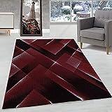 Carpettex Teppich Tapis Design de Salon Tapis à Poil Ras Motif 3-D Triangle Poil Souple Rouge, Couleur:Rouge, Dimension:160x230 cm