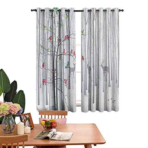 Insulated solid grommet top Bedroom Thermal Blackout Curtains Winter Animals Colorful Group of Birds Sitting on Tree Forest Design with Reindeers Multicolor Room Darkened Set of 2 Panels W72'x L84'
