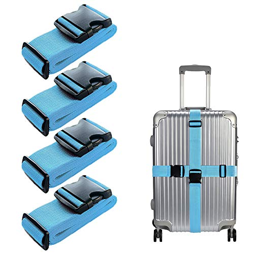LSYCG Luggage Straps 4 Pack, Suitcase Straps Heavy Duty Luggage Belts - Adjustable Suitcase Belts Travel Accessories Bag Bungee