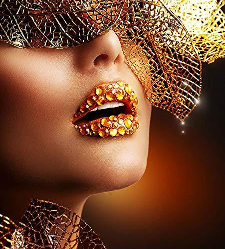 Nordic Golden Leaf Hair Diamond Sexy Labios Boca Maquillaje Mujer Modelo Lienzo Pintura Arte de la pared Póster Escandinavo Imagen HD Sala de estar Dormitorio Salón de belleza Decoración del hoga