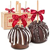 Milk and Dark Decadence Chocolate Dipped Caramel Apples in Wooden Gift Crate
