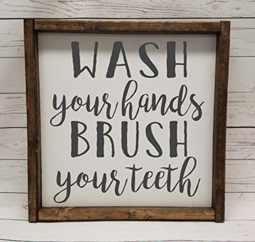 WASH your hands, BRUSH your teeth, Farmhouse sign, rustic decor, fixer upper style, bathroom decor art, kid or master bathroom