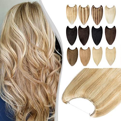 Elailite Extension con Filo Invisibile Capelli Veri 100% Remy Human Hair Balayage senza Clip Standard Weft 45cm #18 Beige mix #613 Biondo 65g