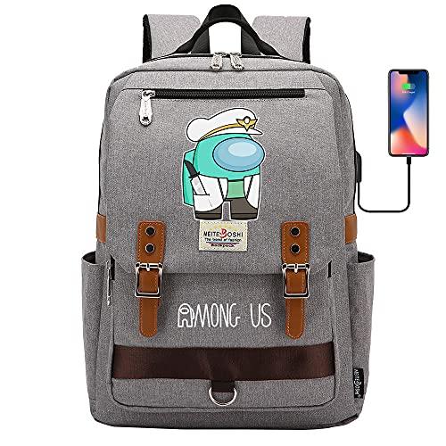 Among Us - Mochila escolar para ordenador portátil para niños y niñas, unisex, ligera de 20 l, mochila de día de lona, diseño de dibujos animados, gris claro, 02,