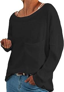 catmoew Camiseta de Manga Larga con Cuello Redondo para Mujer Túnica Tops Blusa Camisas Originales Basicas Blusas De Punto...