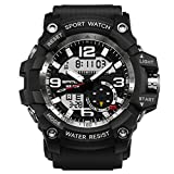 Men's Military Digital Watch Analog Digital Dual Display 3 ATM Waterproof Multifunctional Electronic Sports Watch LED Screen Large Face Outdoor Army Wristwatch with Stopwatch Alarm (Black White)