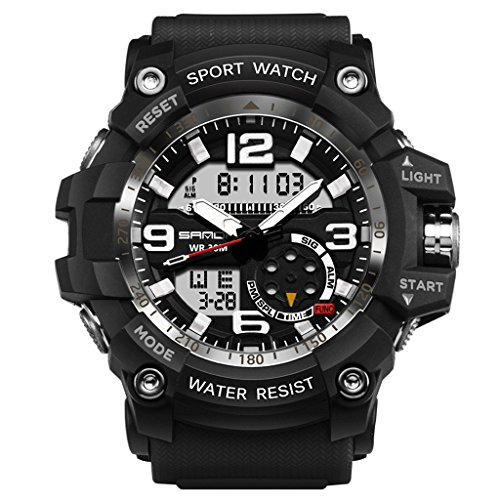 GOHUOS Herren Digital Analog Uhren, Militär Sport Analog Quarz Digital Dual Display wasserdichte Uhr, Großes Gesicht Stoppuhr mit LED Hintergrundbeleuchtung(Schwarz Weiss)