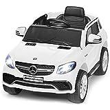 Costzon Ride On Car, Kids 12V Licensed Mercedes Benz GLE63S Electric Vehicle w/ 2 Motors, 2.4G Remote Control, 3 Speeds, LED Lights, Horn, Music, USB TF Port, 2 Doors Open, Spring Suspension (White)