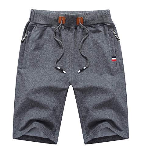 Tansozer Mens Shorts Casual Shorts Short Pants Mens Workout Drawstring Summer Shorts with Elastic Waist and Pockets Grey L
