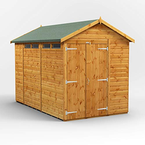 POWER | 10x6 Apex Security Wooden Garden Shed Double Door | Size 10 x 6 | Secure Sheds with super fast delivery