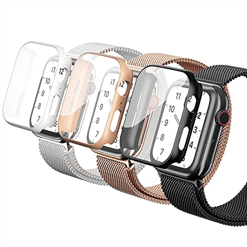 Metal Iwatch Band with Case Compatible for Apple Watch Band 38mm 40mm 42mm 44mm, Screen Protector Protector Magnetic Stainless Steel Mesh Replacement Starp Wristbands For Iwatch Series 6/5/4/3/2/1/SE (Black/Rose Gold/Sliver, 40mm)