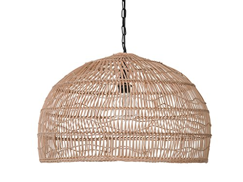 KOUBOO 1050100 Open Weave Cane Rib Dome Hanging Ceiling Lamp, One Size, Wheat