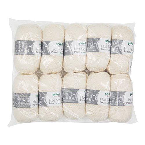 Gründl 3409–01 Hot Socks Pearl Uni, Avantage Pack de 10 à Tricoter 50 g de Laine pour Chaussettes, 75% Laine (Mérinos Superwash), 20% Polyamide, 5% Cachemire, crème, 40 x 37 x 11 cm