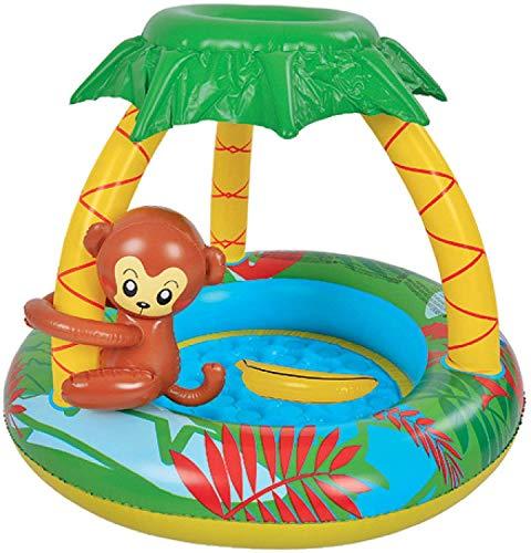 shangji Schwimminsel Baby Pool für Kleinkinder Aufblasbarer Aufstellpool Planschbecken mit Dach als Sonnenschutz 102x102x80cm