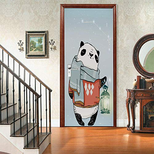 ZCLCHQ Modern Art 3D Door Mural Sticker Cartoon Panda Peel and Stick Removable Vinyl Door Decals for Home Decor,2 Pcs Set W37.4 x H84.6 Inch