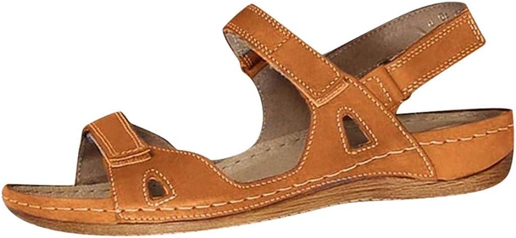 Dreamyam Women's Orthopedic Open Toe Leather Sandals,Bohemian Sa